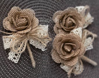 3 Rustic Burlap Rose Boutonnieres, Burlap Lace Buttonholes, Groom and Groomsmen Rustic Boutonnieres, Lace Ribbon Wedding Boutonnieres