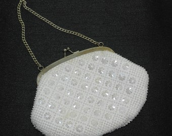 Vintage White Beaded Evening Bag by Golden Name