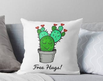 Valentine pillow, cactus pillow, valentines pillow, cactus decor, valentines day pillow, valentines day decor, green cactus, cactus nursery,