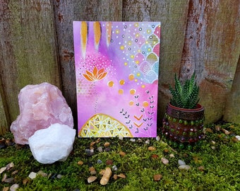 Lotus flower painting - Abstract art  -Interior design - Boho print - Nature poster - Tiny art - Boho decor - Gypsy decor - Geometric