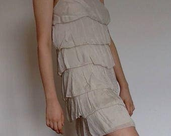 Vintage Silk Dress/ 90s does 1920s / White Ivory Silk Ruffled Mini Dress