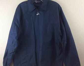Duckster Vintage Jacket 1970s windbreaker solid navy blue silver duck zipper pull lightweight