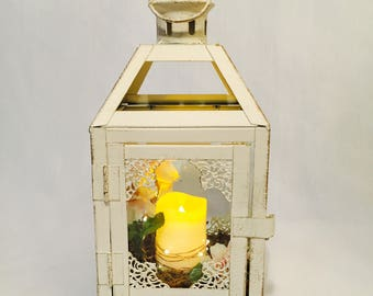 Mini Vintage White Lantern/Wedding Lantern with candle/pink and white lantern/Lantern centrepiece/hanging lantern