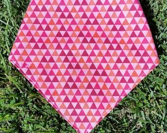 Pink Geometric Triangles Reversible Snap on Pet Bandana