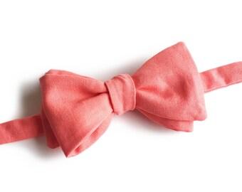 "Pink Self Tied Bow Tie ""Heyse"", Best Handmade Gift for Men, Weddings, Birthday, Valentines Day"
