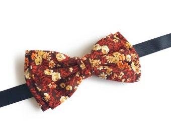 "Floral Brown Pre Tied Bow Tie ""Finsen"", Best Handmade Gift for Men, Weddings, Birthday, Valentines Day"