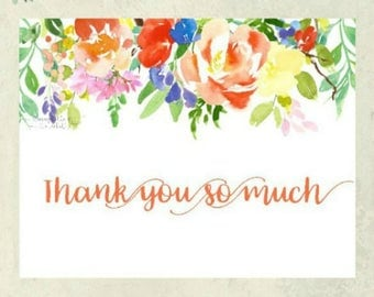 Thank You Card - Citrus Floral Banner - Thank You So Much - Notecard Set - Stationery