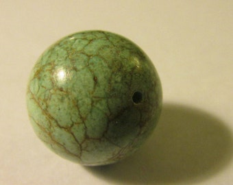 Beautiful (Stabilized) Turquoise Focal Bead with Spider Web Veins, 20mm