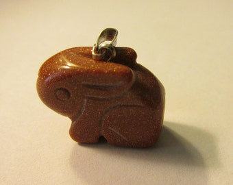 Mini Galaxy Stars Golden Sand Stone Bunny Rabbit Charm-Pendant, 22mm