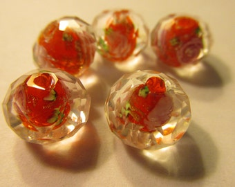 Lampwork Glass Red Beads with Pink Roses, 12mm, Set of 5