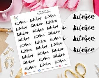 Kitchen Planner Stickers for Erin Condren Life Planner, Kikki K, Happy Planner, Kate Spade, Filofax etc, words, text, script, cleaning, room