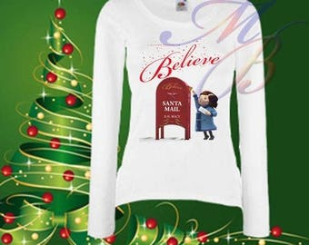 Women Christmas T-shirt; Believe