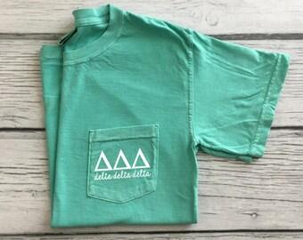 Delta Delta Delta Pocket Tee, Tri Delta T-shirt, Sorority gift, Delta Delta Delta t-shirt, Sorority pocket tee, Greek letter shirt, Tri Delt