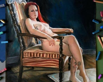 Custom portrait Erotic Nudity custom portrait Painting Drawing Nude Erotic Art Pin Up Girl Art Nude Wall Art Sensual Art Sensitive Nude
