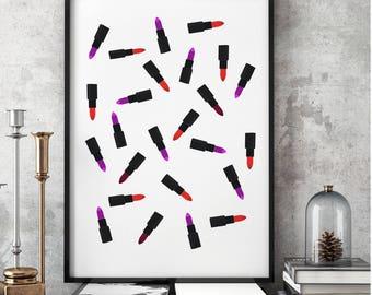 Make up art, Printable, Lipsticks, Pattern, lipstickpattern, There is Always Lipstick, Print, Makeup Print, Lipstick Print, Printable,