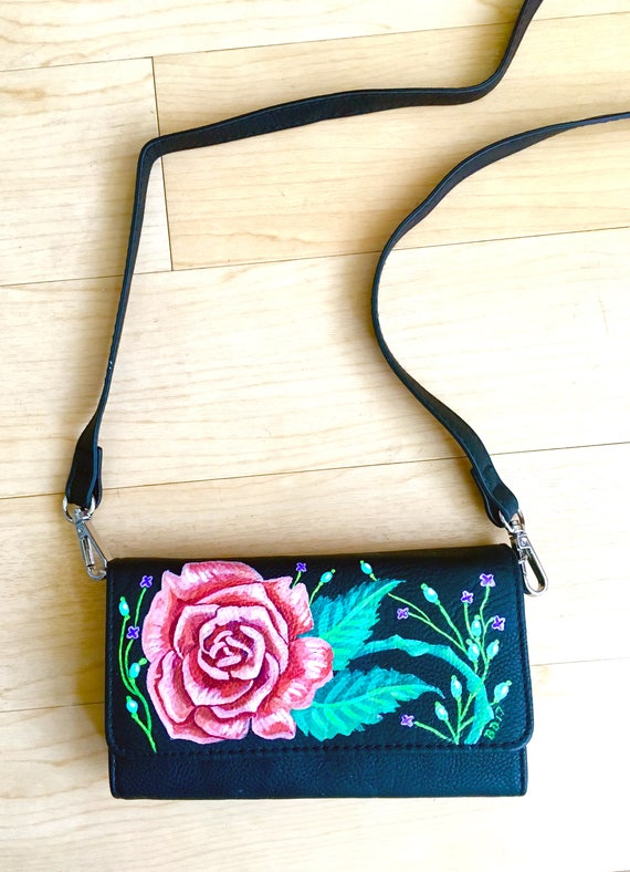 Hand Painted Rose Floral Faux Leather Clutch with Optional Strap