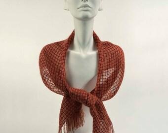 Handwoven scarf in burnt orange kidmohair and brick red tencel. Dark orange kidmohair scarf, woven by hand. Handwoven burnt orange stole.