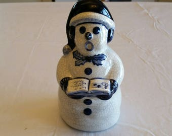 """dedham pottery caroling snowman 7"""" by potting shed signed art - christmas winter singing statue  ceramic blue white frosty snow ornaments"""
