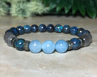 8mm Genuine Chrysocolla Bracelet, Genuine Aquamarine Bracelet, Madagascar Labradorite Bracelet, Serenity, Peace, Soothing, Calming