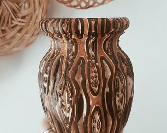 REDUCED - Vintage NZ Ponga Hand Carved Vase / carved wood / rustic decor