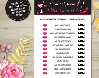 Who said it? Game, Hens Party, Bridal Shower, Bachelorette, Printable Games, Digital Download, Pink and Black, Burlesque, Wedding Shower