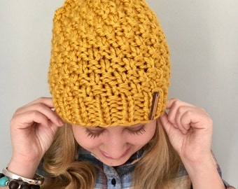 "Chunky Knit Hat / ""Margo"" hat / Color Mustard / soft and warm beanie / ready to ship"