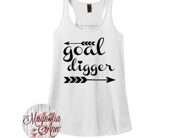 Goal Digger, Women's Racerback Tank Top in 9 Colors in Sizes Small-4X, Plus Size