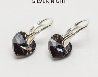Earrings with Swarovski Elements CRYSTAL Heart 10 mm SILVER NIGHT Sterling Silver Lever backs