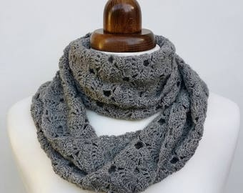 Infinity crochet scarf, alpaca and merino, grey scarf, lacy winter scarf, crochet cowl, winter accessory, women's accessory