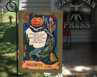 Garden Flag, Dark Tricks, Victorian Halloween Card