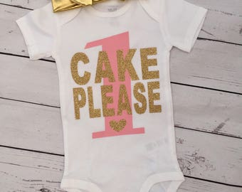 Birthday bodysuit, first birthday, cake please, pink and gold