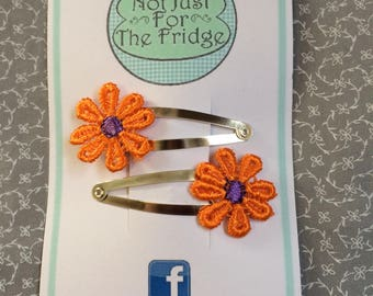 Embroidered flower hair slides