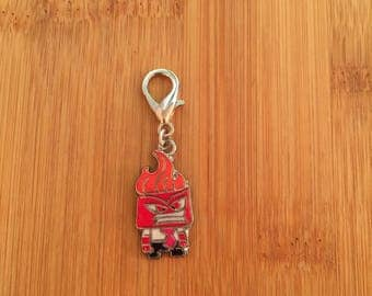 Inside Out Anger zipper charm, Inside Out Anger zipper pull, Inside Out Anger keychain, Disney charm