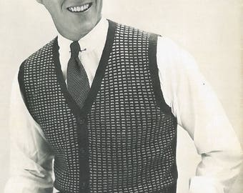 Vintage Men's Colorwork V-Neck Sweater Vest Knitting Pattern PDF 1954