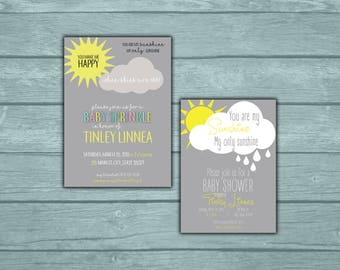 You Are My Sunshine Baby Shower Invitation with Matching Tags