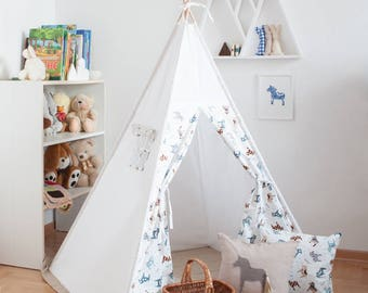 Ready to ship! Swedish horse dala vigvam (tipi, teepee, baby gift, playhouse, playtent) shipped with assambled poles