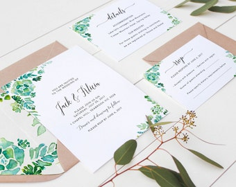 Succulents Wedding Invitation suite / Printable Invitation Set / Watercolor Succulents / Cactus wedding Invitation / Rustic Greenery Wedding