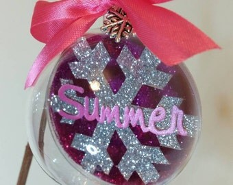 Name Bauble, Personalised Christmas Bauble, Christmas Tree Decoration, Custom Christmas Bauble, Pink Christmas Ornament