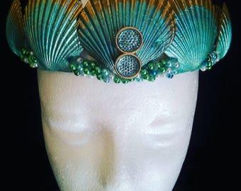 Mermaid Crown- Seashell Crown  - Gold & Green Crown - Seashell Headband - Mermaid headbnd - Mermaid Costume - Photo Prop - Festival Headband