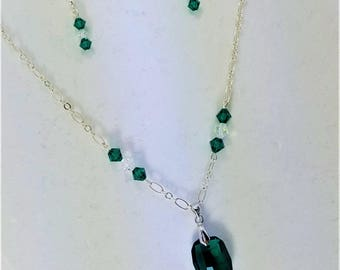Emerald Colored Crystal Charm Necklace and Earrings