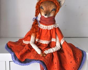 Fox Elizaveta  interior doll,collection doll, ooak art doll,paperclay,ladoll,textile doll, Tilda, fabric doll, red fox, lilac, sly fox