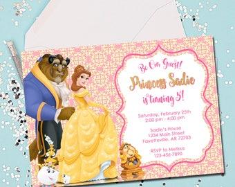 BELLE INVITATION, Birthday Invitation, Belle, Beauty and the Beast Invitation, Beauty and the Beast, Birthday, Invitation, Printable