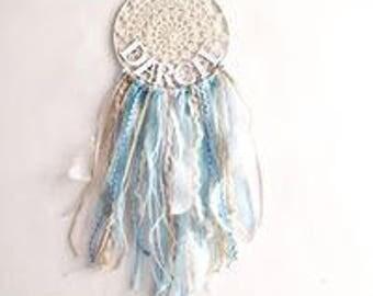 Dreamcatcher- Boho-  Personalised Dreamcatcher- Nursery Decor- Feathers- Doilie- Wall Hanging