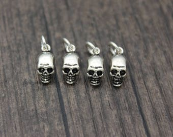 1PC Sterling Silver Skull Charm, Sterling silver skull pendant, Sterling Silver Skull