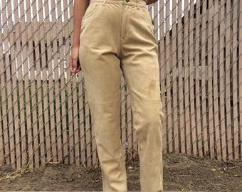 Vintage tan / light brown leather suede high waisted pants, size 25 / 26