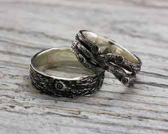 Tree wedding bands set, Branch rings, His and Her tree wedding rings, Twig rings, Men's tree band, Women branch ring, Silver rustic rings