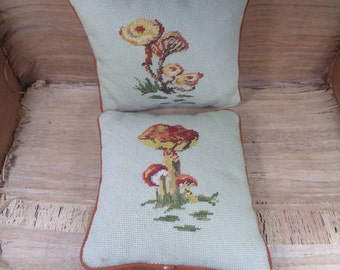 Two Beautiful Completed Vintage Needlepoint Pillows, Floral Pattern Needlepoint Pillows From The 1970s, 10x10 Pillows