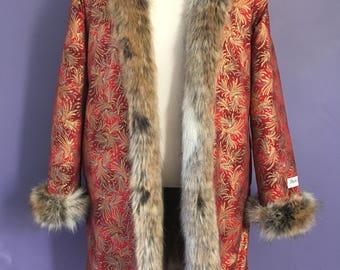 RED KHAN Reversible Faux Fur Men's Boho Playa Coat Man Festival Clothing Costume Outfit  Men's Jacket Burning Colors Symbiosis