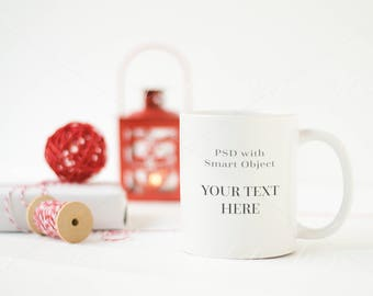 Mug MockUp - White and Red Christmas Theme Mockup,  Styled Stock Photography - High Res Jpeg file + PSD with Smart Object lettering quotes