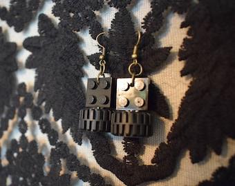 Handmade black tire LEGO earrings